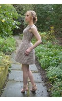 Gold Checkered Jacquard tulip Dress