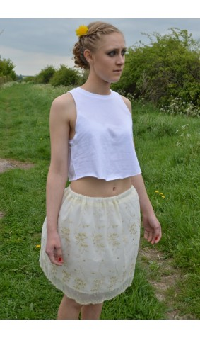 Cream & Gold embroidered Lace skirt