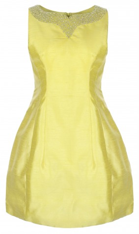 Jewelled neckline Silk Tulip Dress