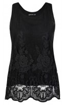 Sleeveless Black Embroidered Lace Top