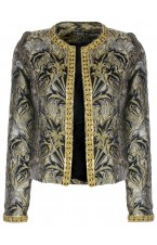 Gold Jacquard Blazer with Sequin trimming