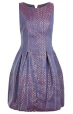 Paisley print purple Brocade pleated dress