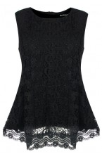 Studio Black Guipure Lace peplum top