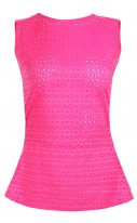 Neon Pink Embroidered Peplum top