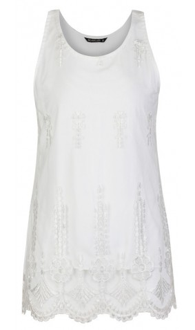 Sleeveless White Embroidered Lace Top