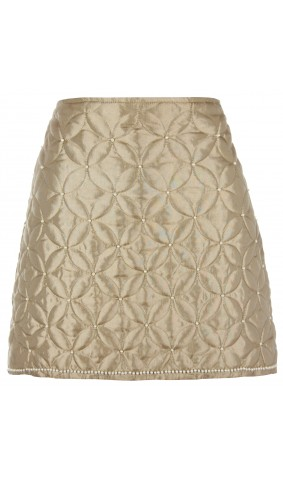Quilted Pearl Embroidered Skirt