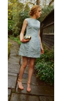 Antique Gold Sky Blue Brocade Dress