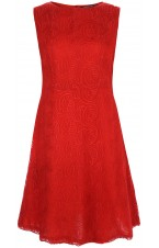 Red Embroidered Chiffon Dress