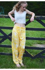 Pure silk yellow trousers