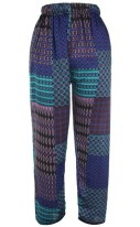 Pure silk tie printed trousers