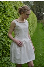 Jewelled Neckline Nude Tulip Dress
