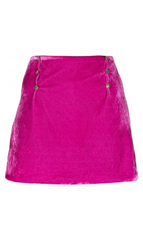Velvet skirt with gold buttons