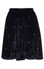 Black velvet embellished skater skirt