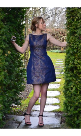 Paisley printed Blue Structured Tulip Dress