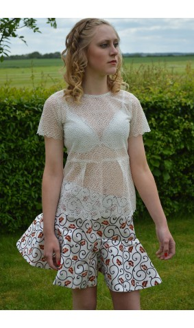 Ivory Embroidered frill Top