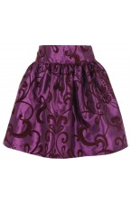 Organza silk Floral High waist skirt