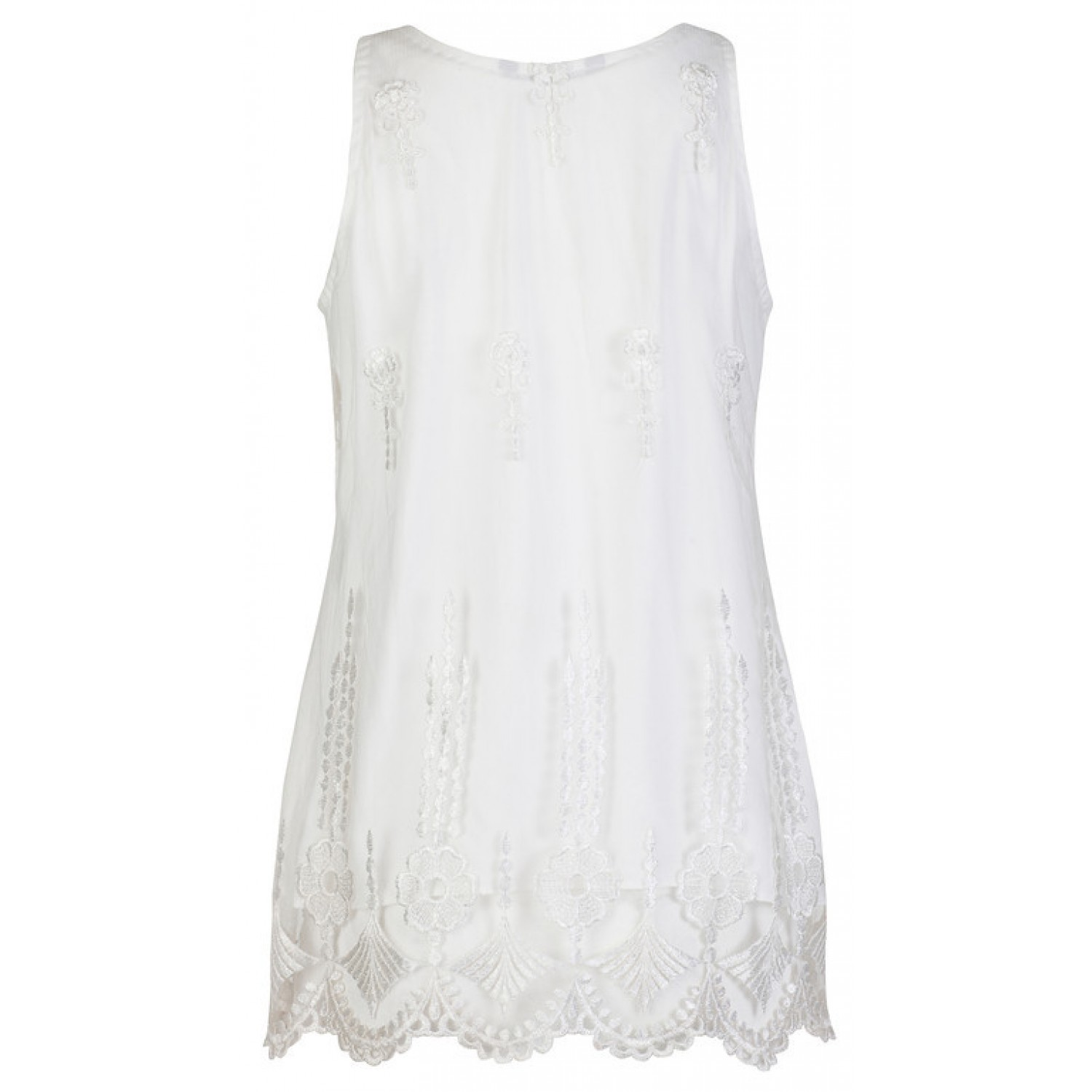 2b8411acb08c8b Sleeveless White Embroidered Lace Top, Women's Clothing