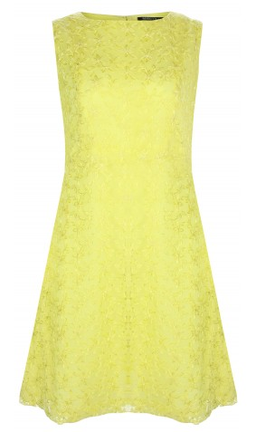 Lemon Yellow Embroidered Chiffon Dress