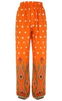 Orange Paisley Print Palazzo trousers