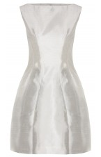 White Silk Dress with structured pleats